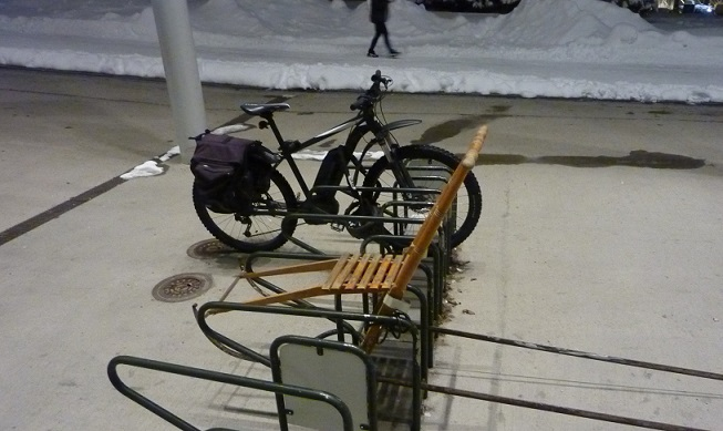 Just locking my sled up outside the library...