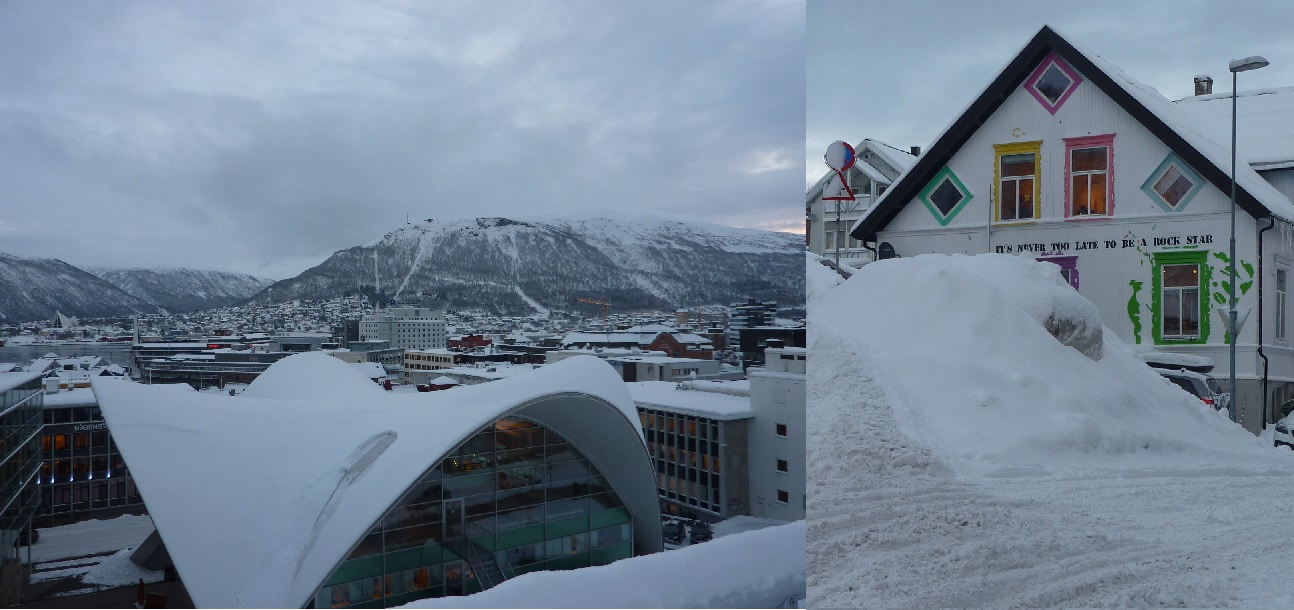 View from the apartment roof in Tromso and it is never too late to be a rock star