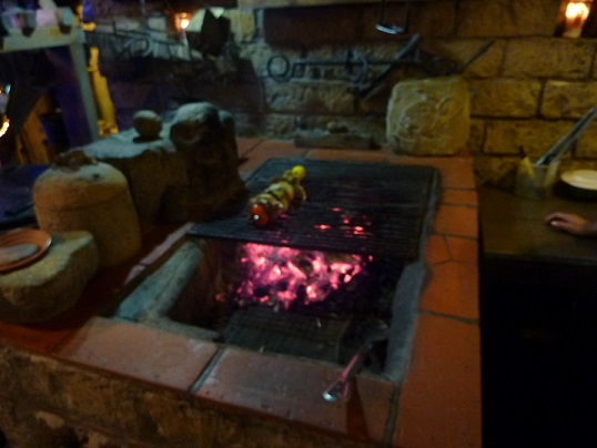 Charcoal fire where kebab was cooked in Copan Ruinas, Honduras