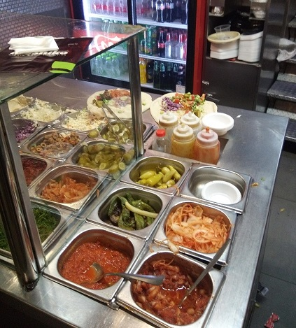 Salad bar at Moshiko kebab shop in Jerusalem