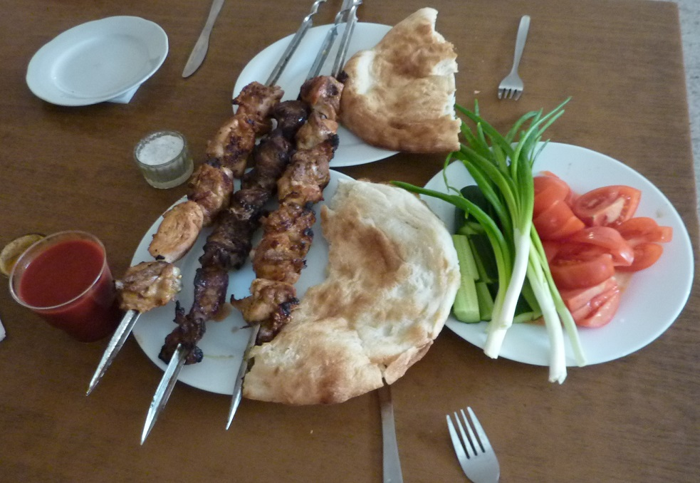 Awesome kebab meat at Sasliki Mangalos