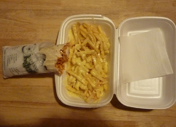 Chicken kebab and cheesey chips from Pakistanas Kebabs in Riga