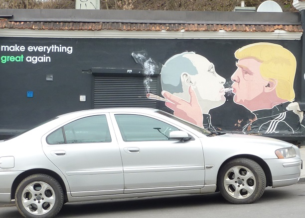 Putin kisses Trump has become a blow-back. Naughty boys.