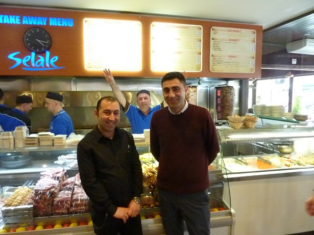 Our waiter for the London kebab - Zeynel - with the owner and the happy chef at Selale kebab restaurant
