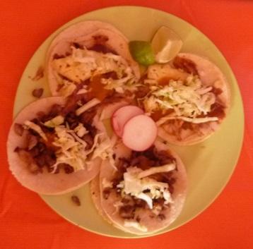 platter of kebabs, aka gringas, tacos, tostadas, panuchos