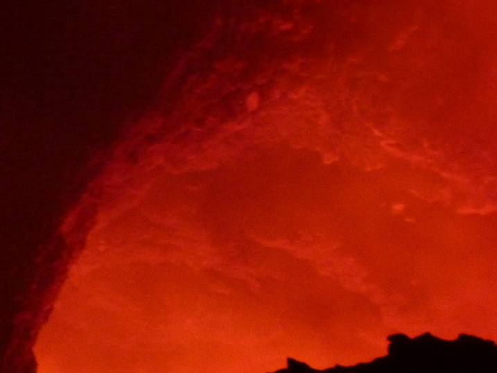 Masaya volcano with lava bubbling up