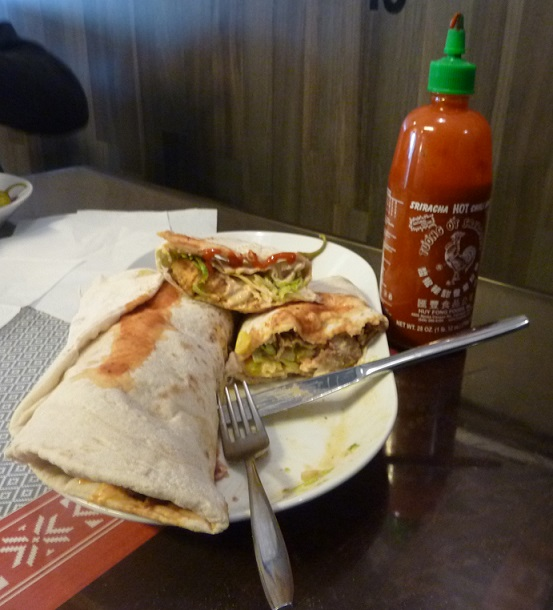 Hot sauce helps with the massive reindeer kebab