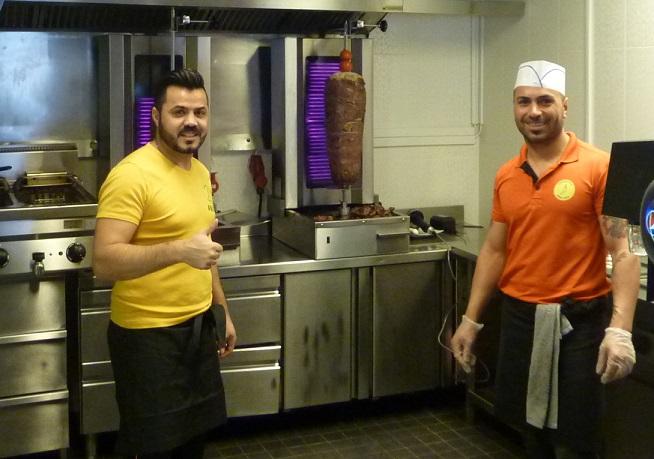 Reindeer kebab shop men