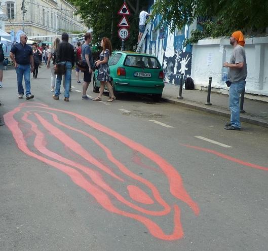 Bucharest street art vagina kebab