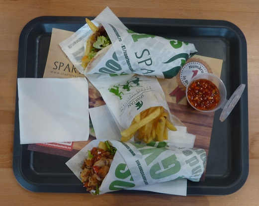 Two kebabs, chips and a drink, Spartan kebab