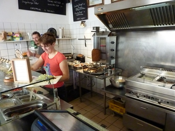 Alex and Ceilidh hard at work creating the magic of the Vegan kebab.