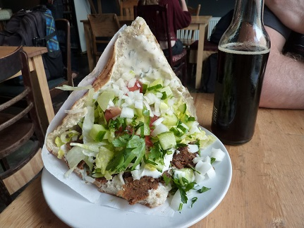 In the corner - between Turkish flatbread - is the staple kebab bread option in Berlin